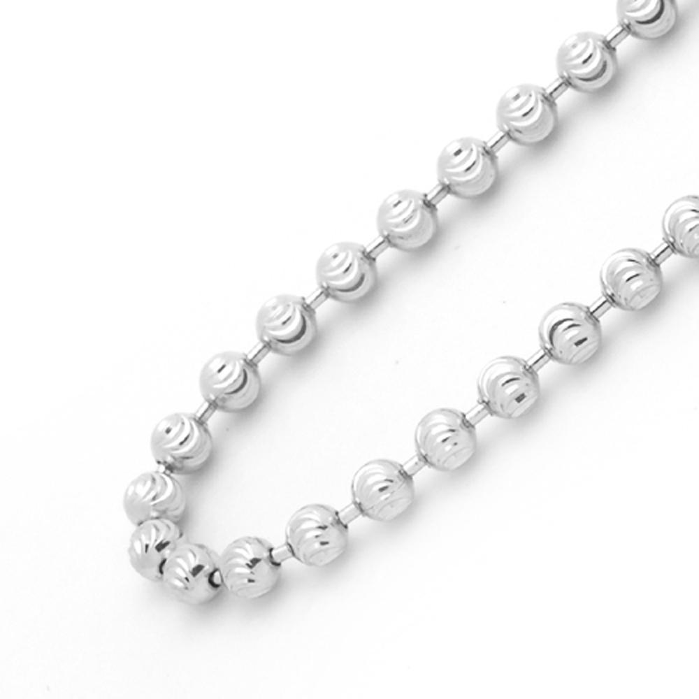 Men's 3mm 14K White Gold Chain Diamond Cut Ball Chain ...