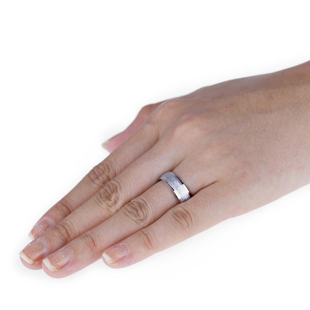Men S 14k White Gold 6mm Satin Light Wedding Band Right