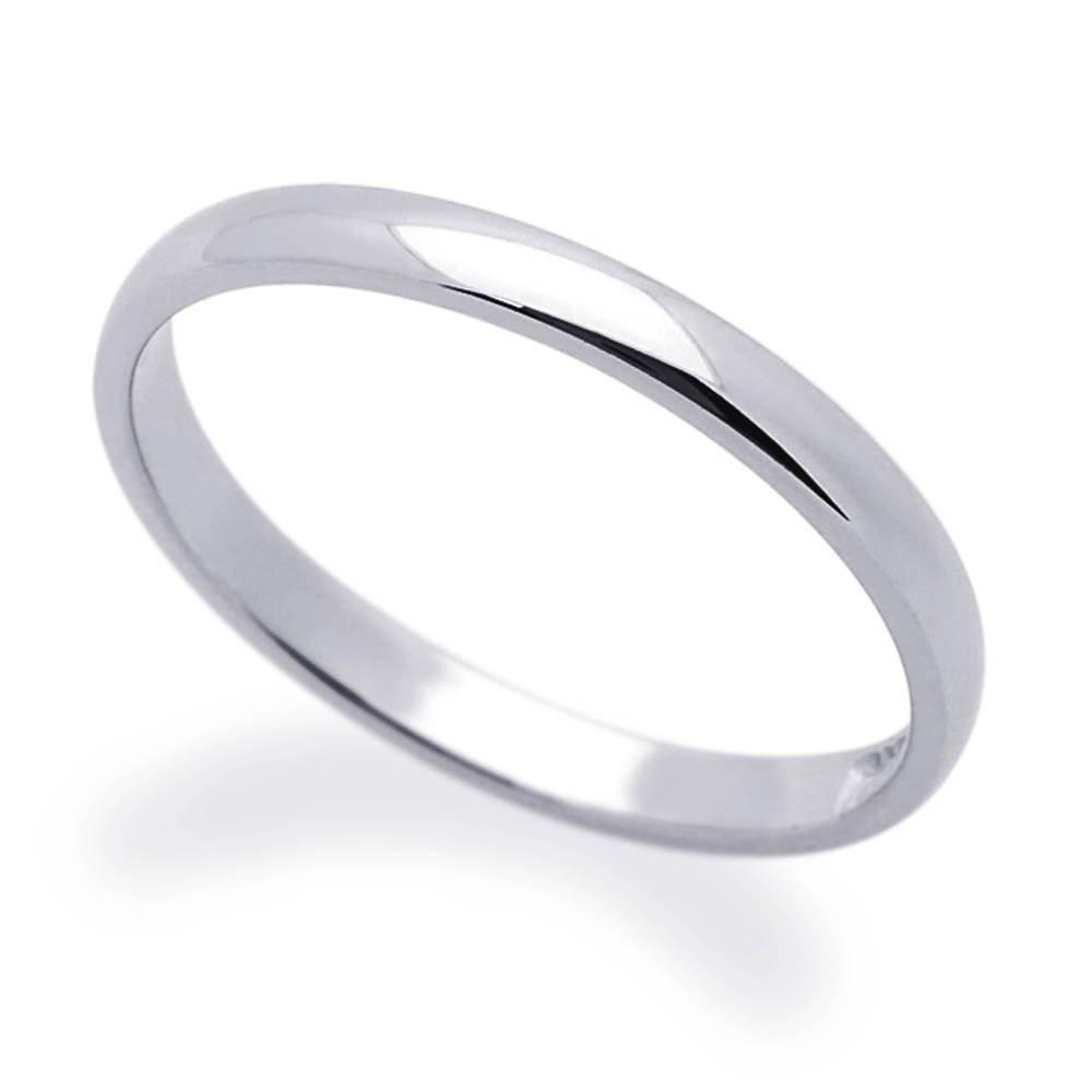 Mens 14K White Gold 2mm Classic Domed Plain Wedding Band Ring Gift Box