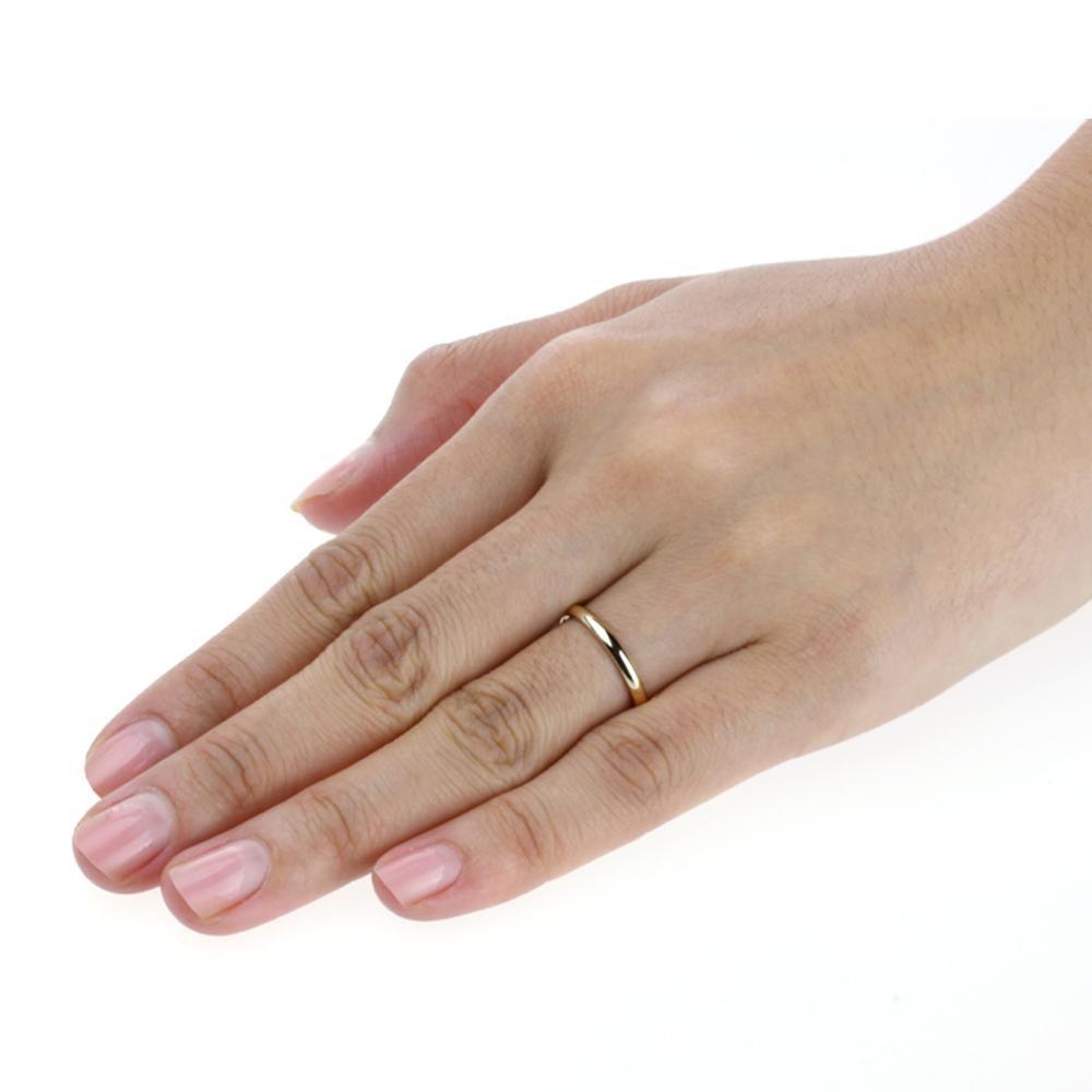 Men Women 14k Yellow Gold 2mm Classic Domed Plain Wedding
