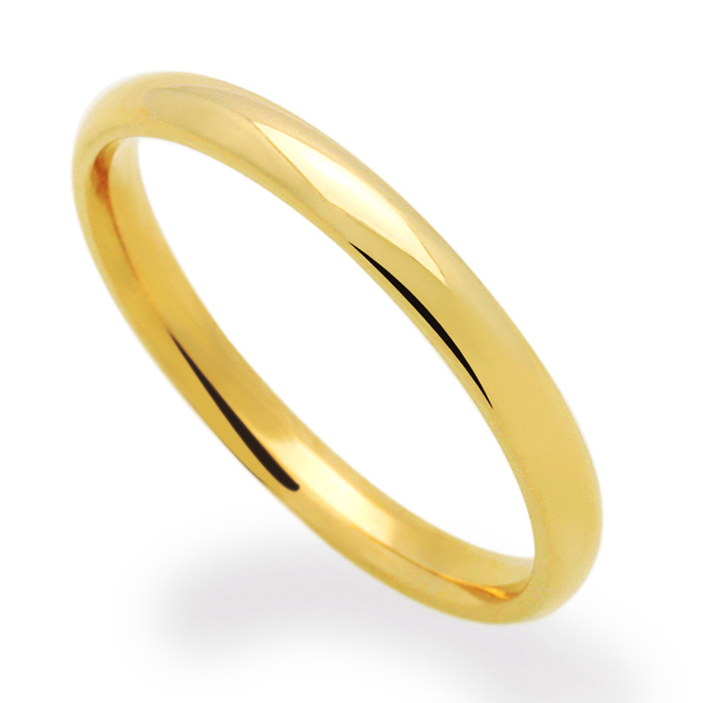 s 14k yellow gold 2mm classic domed plain wedding band
