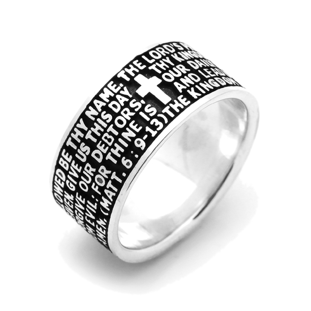 This beautiful Sterling Silver Oxidized Finish Lord's Preayer ring by Double Accent is meticulously crafted in gleaming and durable Sterling Silver