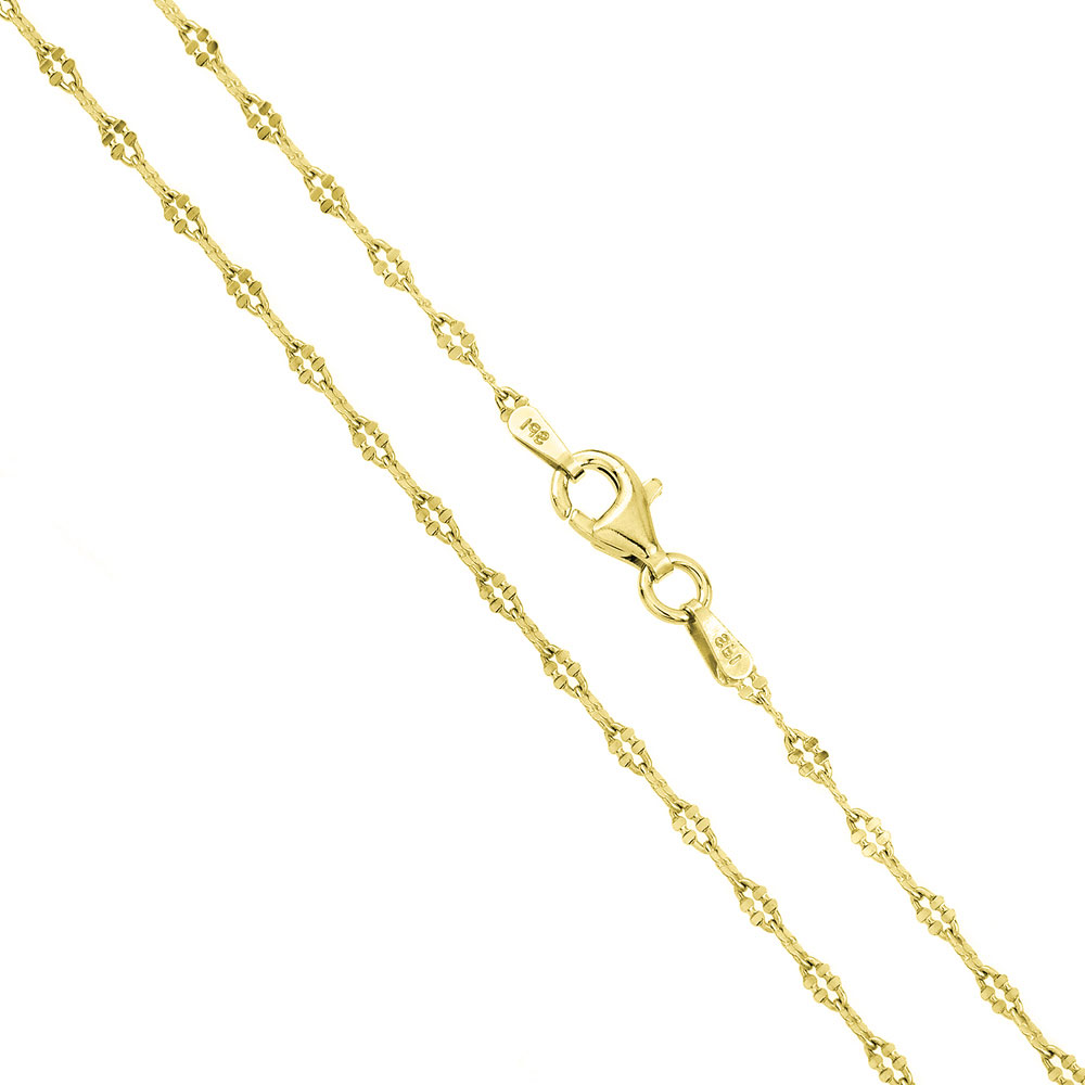 2mm 925 sterling silver italian chain necklace