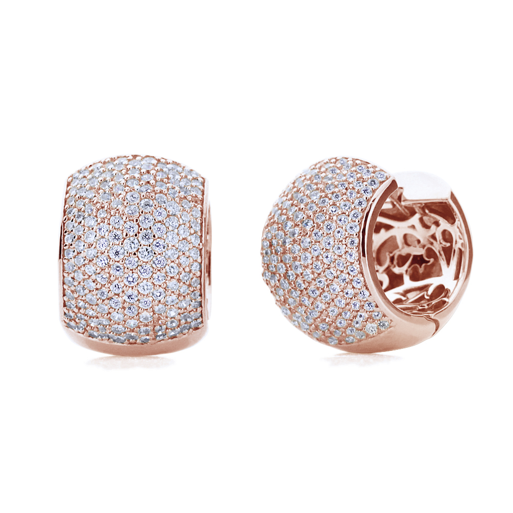 14K Rose Gold Plated Sterling Silver Cubic CZ Pave Set