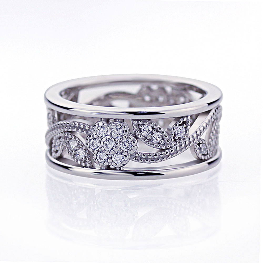 Eternity Ring Wedding Set: 8mm Platinum Plated Silver 0.5ct CZ Flower Wedding Band