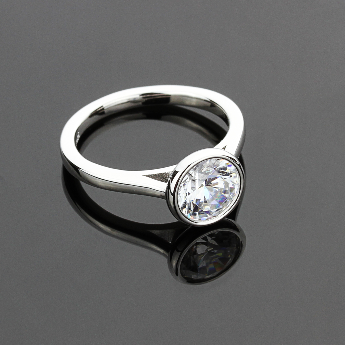 8mm platinum plated silver 2ct cz bezel solitaire wedding