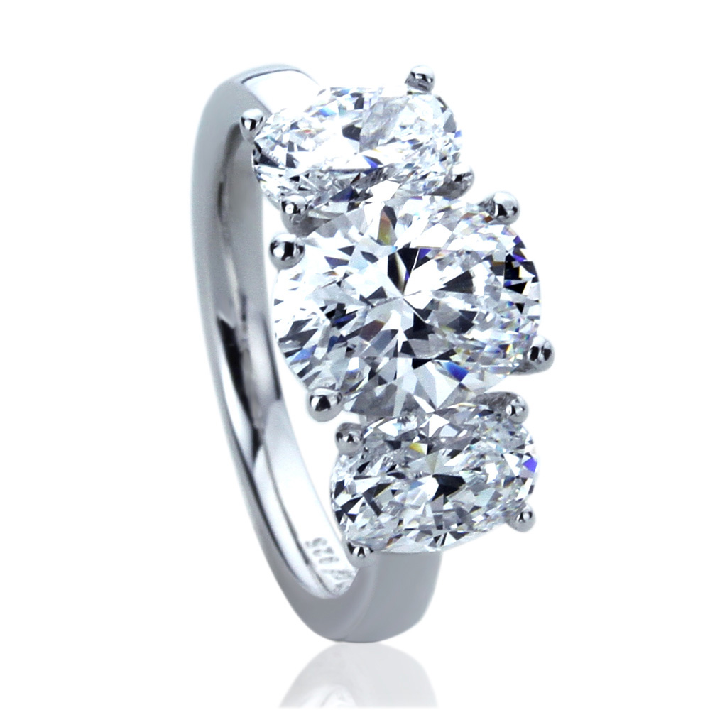 9mm Platinum Plated Silver 3.5ct Oval CZ Three Stone