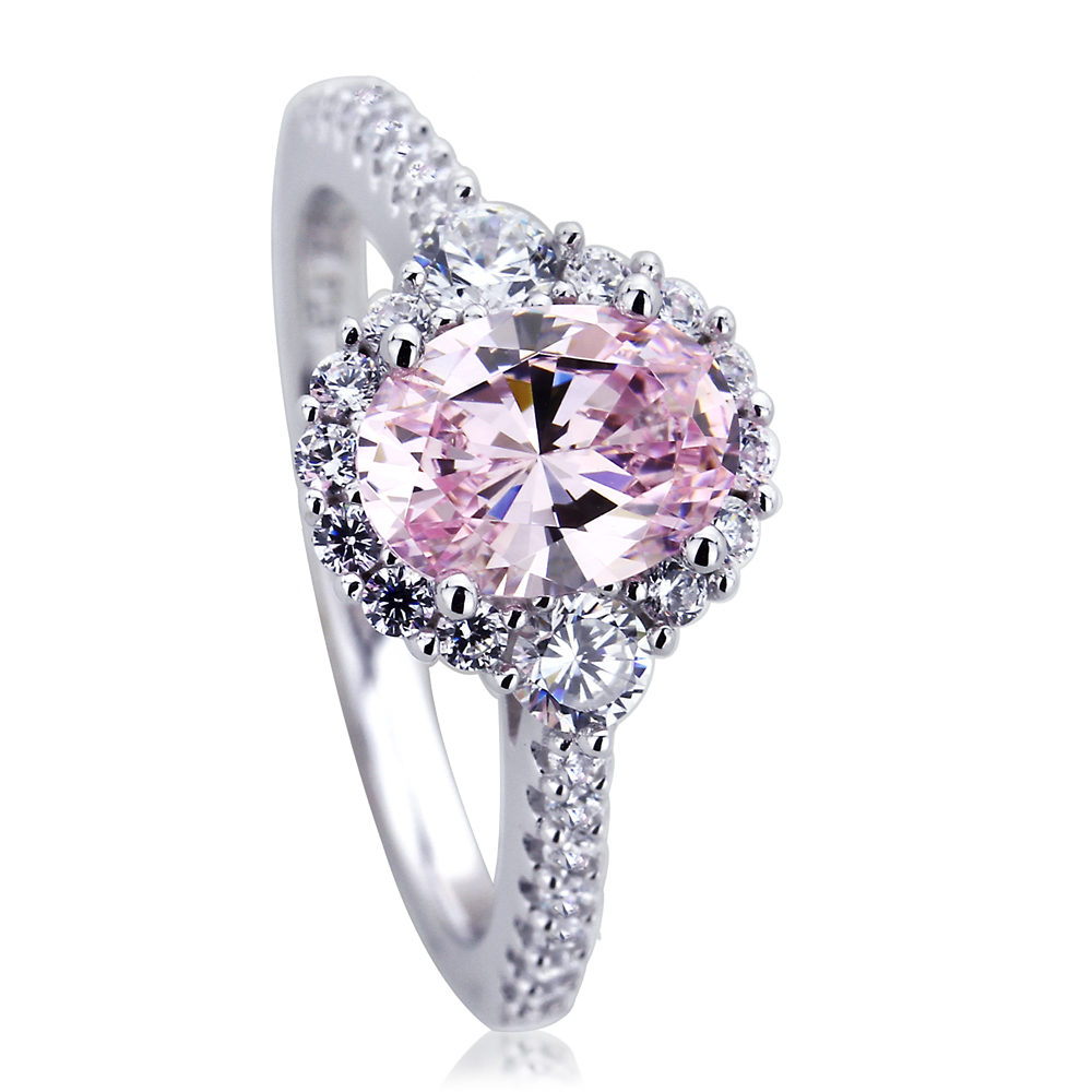 10mm Platinum Plated Silver 12ct Oval Pink CZ Halo