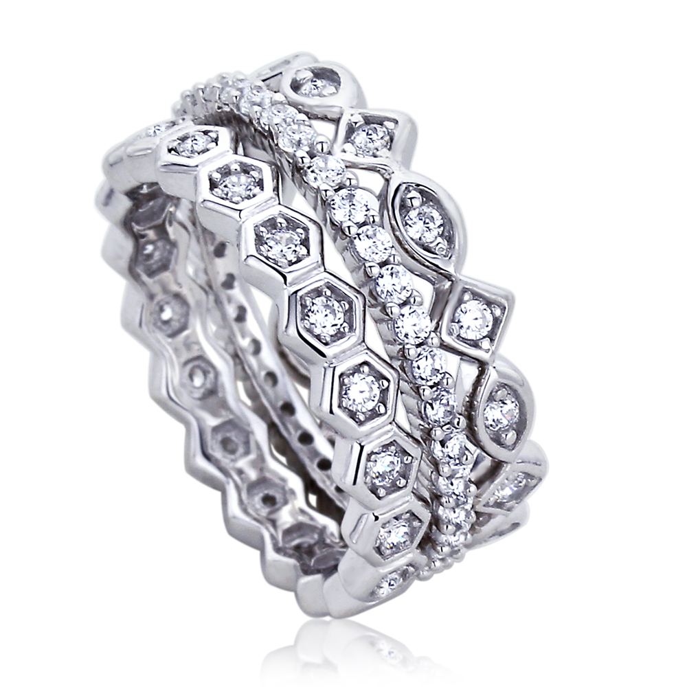 8mm platinum plated silver 1ct cz stackable band wedding
