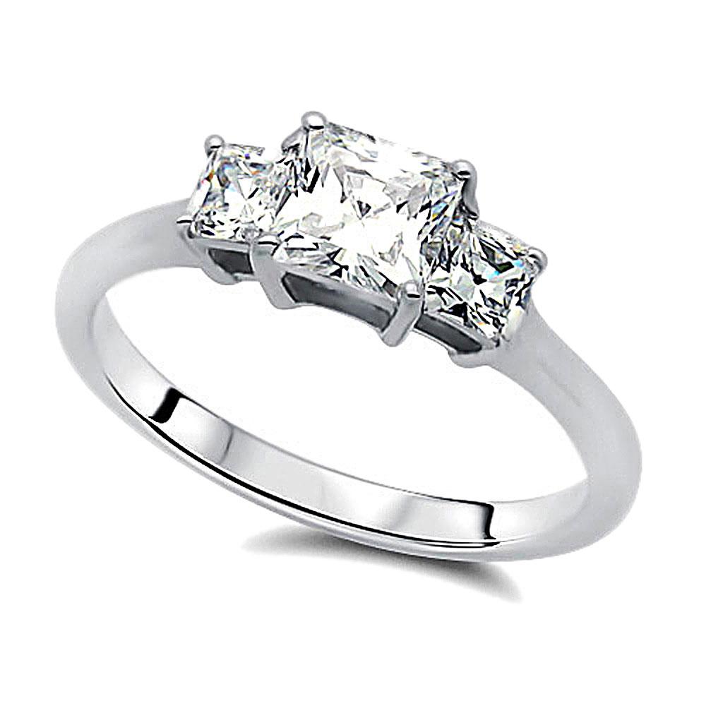 Rhodium Plated Silver Wedding Band Princess CZ Three Stone Engagement R