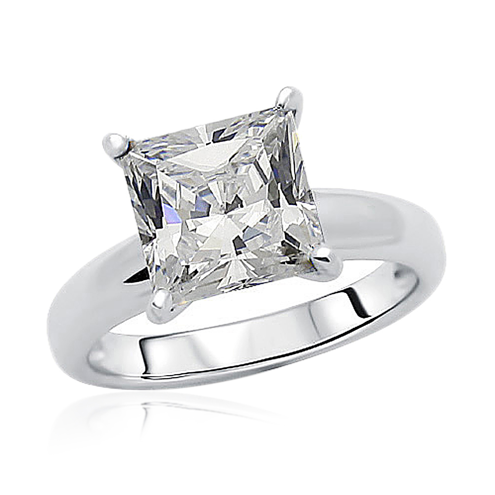 85mm Rhodium Plated Silver Wedding Ring Princess CZ Solitaire Engagement Band