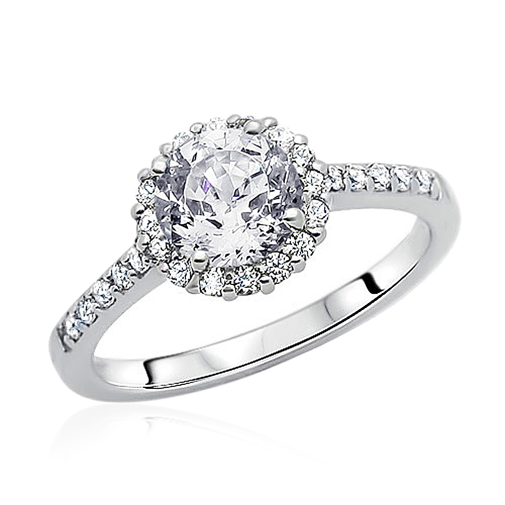 10mm Rhodium Plated Silver Wedding Ring CZ Solitaire Halo Engagement Band Set