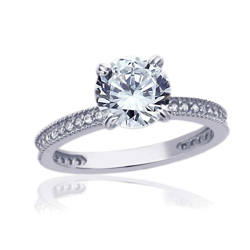 5 Carat Wedding Ring: Women 7.5mm 14K White Gold 1.5 Carat Round CZ Solitaire