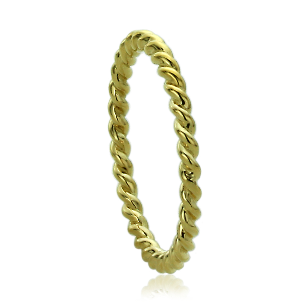Rope Design Bands: Women 2mm 14K Yellow Gold 2mm Plain Band Braided Rope