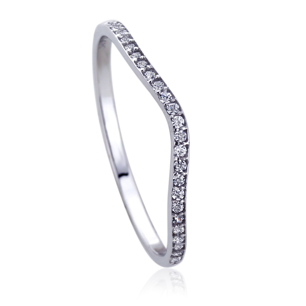 14k white gold round cz curved tracer wedding anniversary ring ebay