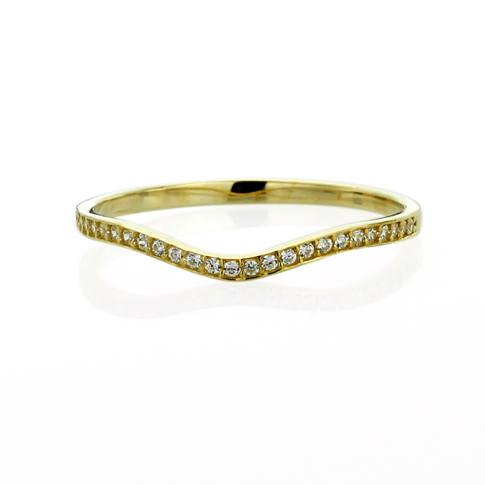 band 14k yellow gold cz curved tracer wedding anniversary ring