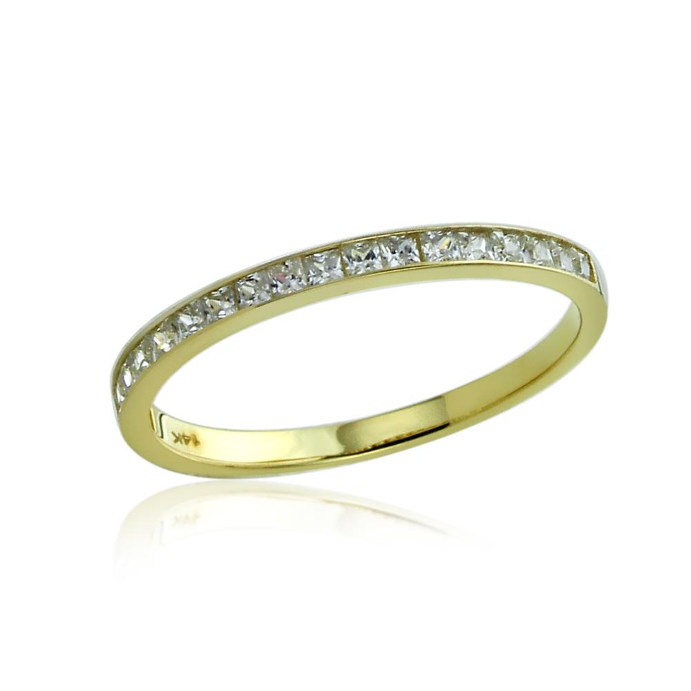 Women 2mm 14K Gold 057ct CZ Channel Setting Half Eternity Band Wedding Ring