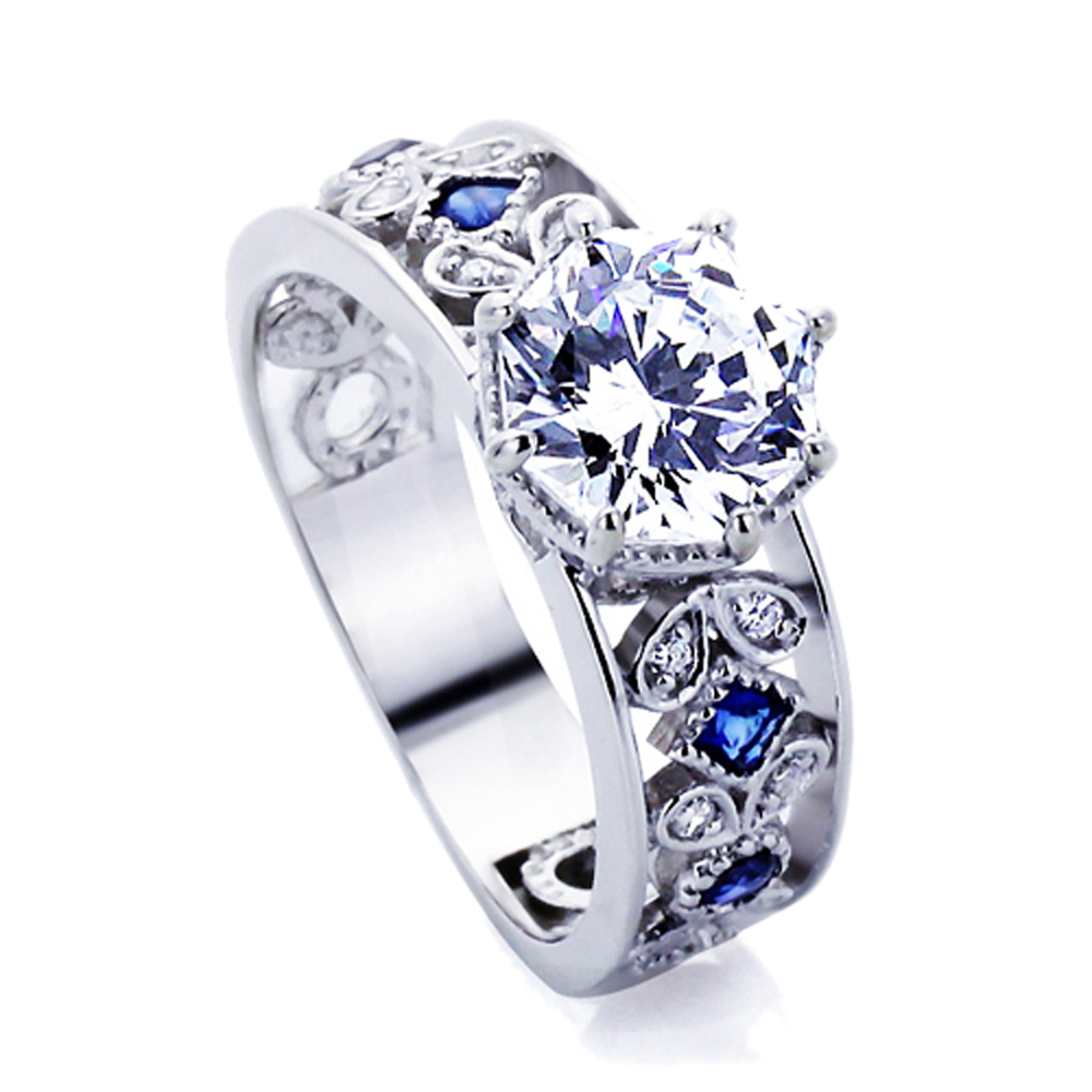 women 14k white gold 2 ct octagon sapphire cz accent. Black Bedroom Furniture Sets. Home Design Ideas