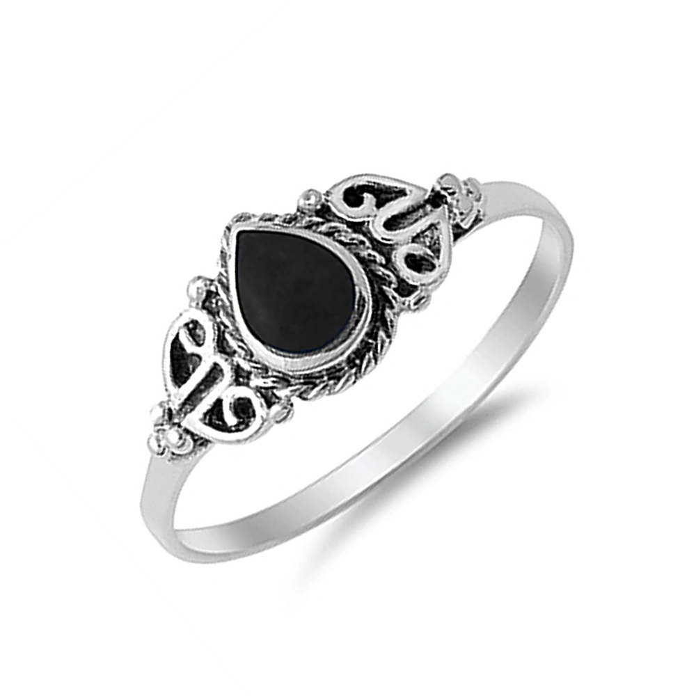 9mm 925 silver simulated black onyx vintage style