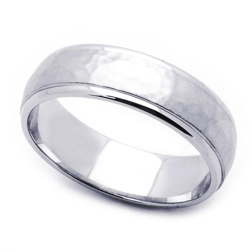 Men Women 14K White Gold 6mm Hammered Wedding Band Right