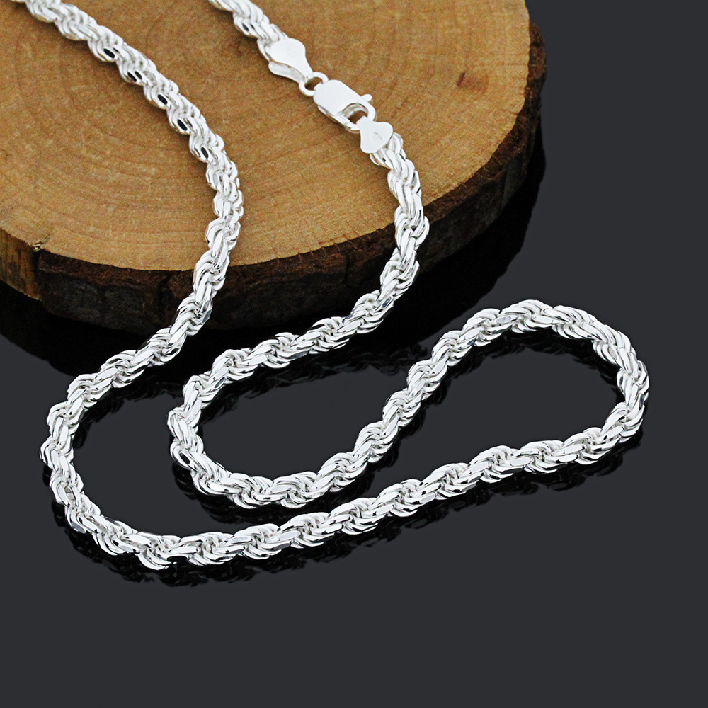 5mm 925 Sterling Silver Italian Rope Chain Necklace Made