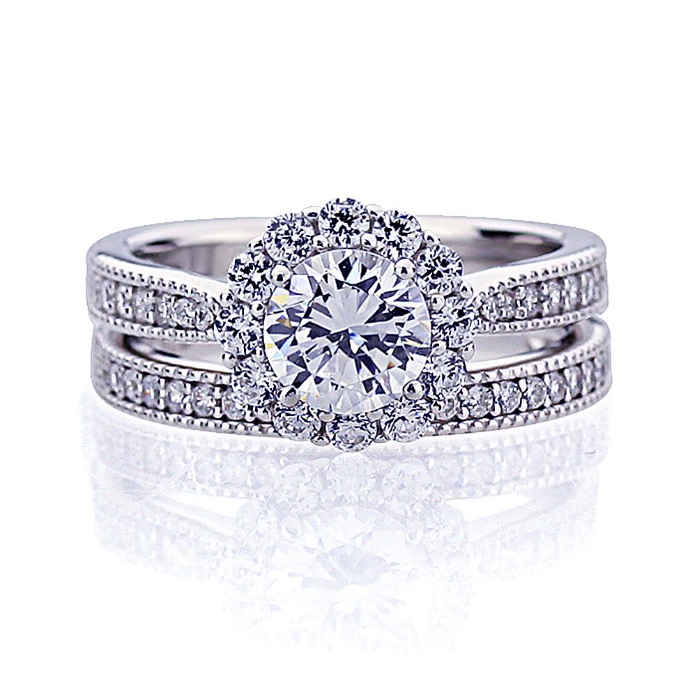 Women 5mm Platinum Plated Silver 1ct CZ Vintage Engagement